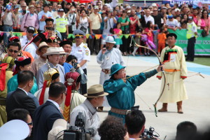 President of Mongolia at Archery at Naadam